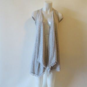 MINNIE ROSE CASHMERE GRAY VEST W/FRINGE S*